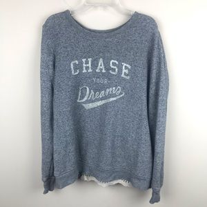 AERIE AEO 'Chase your dreams' Print Gray Pullover